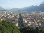 View of Grenoble from part way up to La Bastille