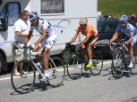 The four breakaway riders nearing the top of the Col du Lauteret