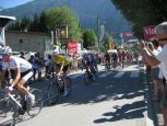 The leading chase group, including Frank Schleck in the yellow jersey, approching the bottom of Alpe d'Huez