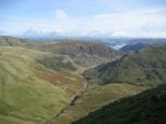 The view down the valley towards Glenridding and Ullswater from Catstye Cam