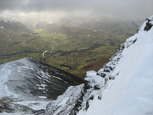The view down Hall's Fell Ridge from Hallsfell Top with St John's Beck winding up the valley