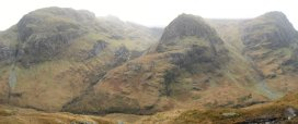 View of the Three Sisters from the slopes of Am Bodach on the way up to the Aonach Eagach